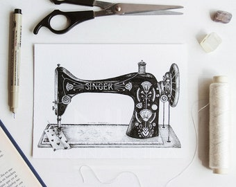 "Print of my illustration ""Mom's Vintage Sewing Machine"""
