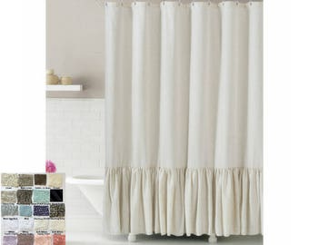 extra long shower curtain grey. Linen shower curtain with mermaid long ruffles  make your bathroom look appealing Custom Shower Long Etsy