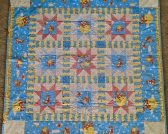 "Hey Diddle Diddle Baby or Toddler Quilt 42"" Square"
