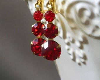 Lady Mary - 1920s Jewelry - Art Deco Earrings - Red Drop Earrings - Bridesmaid Earrings - Downton Abbey Style Jewelry - Womens Jewelry