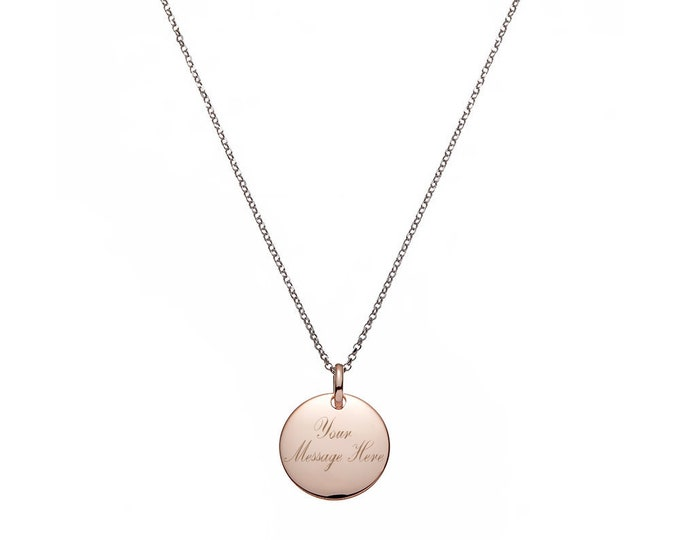 "Personalised Engraved 2cm Rose Gold Disc On 17"" Sterling Silver Belcher Necklace"