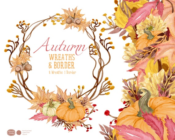 Autumn Wreaths Fall Flowers Clipart Floral Clip Art Watercolor Flower Handpainted Wreath Elements From