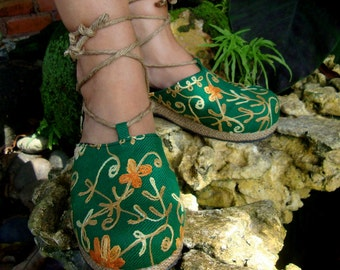 25% Off Clearance Sale- Embroidered Green Floral Espadrille Ankle Wrap Shoes