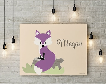 Personalized Children's Fox Wall Art - Various Options Available