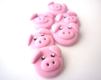 Pig buttons-Polymer clay buttons-pig shaped buttons handmade with polymer clay