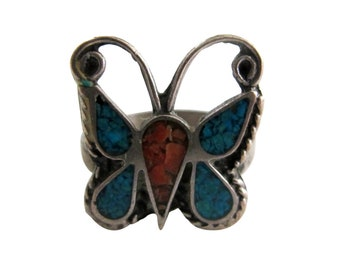 Vintage Alpaca Silver with Turquoise & Coral Chip Inlay Butterfly Ring size 5