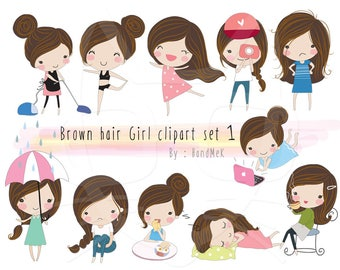 Brown hair Girl ,girl stickers set 1, instant download PNG file - 300 dpi