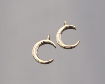 Gold Crescent Moon Charm with CZ crystals,  Jewelry Findings, 2 pc, PA64452