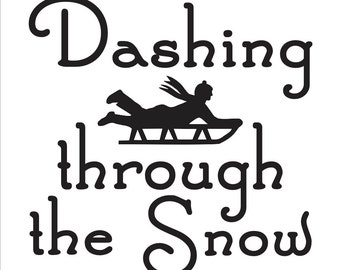 "Primitive Winter STENCIL**Dashing through the Snow** 12""x12"" for Painting Signs, Airbrush, Crafts, Wall Art and Decor"