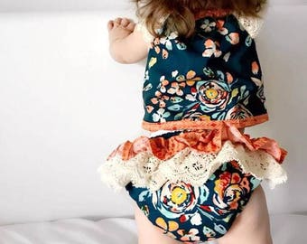 "Two Piece Baby Set - Top with lace sleeves and ruffle pants ""Fleet & Flourish"" - Sizes 000, 00, 0, 1, 2"
