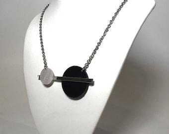 Pearl/Mirror/Black Acrylic Pendant