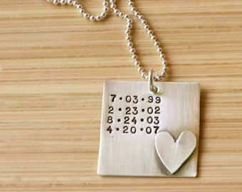 Personalized Dates Necklace - Sterling silver birthdate necklace - Special Dates Jewelry - Birthday Necklace - Tagyoureitjewelry