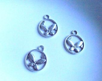 Butterfly Charms set of 3 Silver tone Component Destash