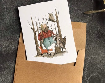 Blank Note Cards - Greeting Cards Fox - Watercolor Whimsical Card - Fathers Day Card - Cards for Him - Woodland Birthday - Wolf