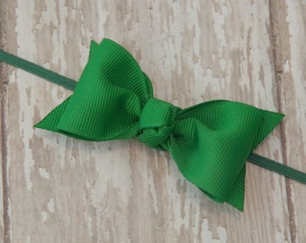 Boutique Emerald Green Tuxedo Bow Skinny Elastic Headband Infant/Toddler Hair Bow Bowband
