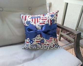 Stars and Stripes Pillow, 4th of July Pillow, Independence Pillow, Patriotic Pillow
