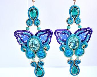 Blue orchid earrings