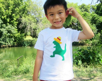 Mexican Dancing Dinosaur with Sombrero Kids T-Shirt
