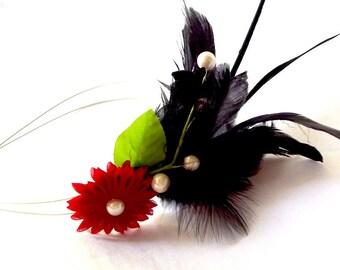 Black Feather Headband with Red Kanzashi Flower Statement Headpiece Fascinator