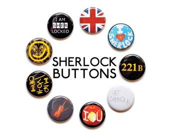 "Sherlock Inspired 1"" Button Set"