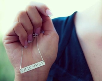 Beautiful Roman Numeral Date Necklace