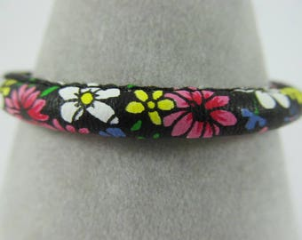 Faux Leather Floral Bracelet with Magnetic Clasp