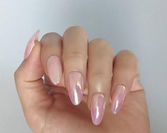 Almond Shaped, Aurora, Holographic, Baby Pink, Hand Painted, Nail Tips / Press On / Fake Nails - 12 pcs or 20 pcs