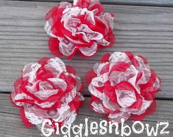 CHRiSTMaS CoLLECTiON Red/White- Set of 3 Gorgeous Shabby Chic Frayed Chiffon and Lace Rose Flowers- 3.5 inch