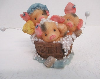 "Cherished This Little Piggy "" Spring Cleaning"" figurine 1997 Enesco Mary Rhyner 298107"