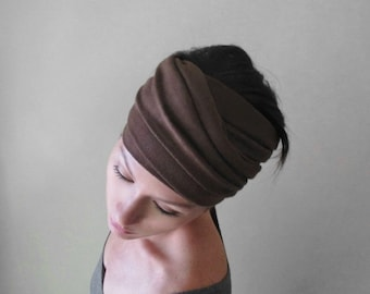 CHOCOLATE BROWN Headband, Brown Jersey Head Scarf, Boho Headband, Headbands for Women, Brown Head Wrap, Jersey Headband, Extra Wide Headband