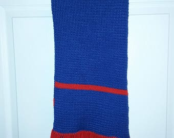 Blue and red scarf with red fringe