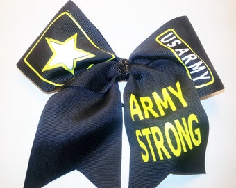 US ARMY STRONG Cheer Hair Bow   Free personalization!