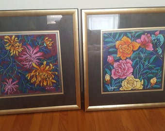 ON SALE, Pair of Paintings, Colorful Flowers, Exotic Flowers, Chan Man, Framed Art, Butterfly Art, Chinese Artist, Acrylic Painting