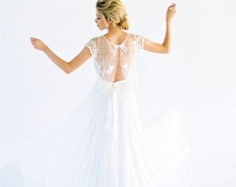 Lois Dress // beaded lace chiffon wedding dress