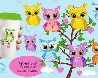 Owls clipart, Owls in Trees, Forest Animals Clipart, Cute baby owl clipart, owl clip art, commercial use, AMB-286