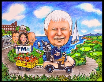 Custom caricature, retirement gift, retirement for women, retirement for men, retirement caricature, golfing caricature, family caricature,