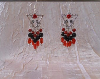 Earrings Oriental red and black for wedding
