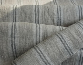 Pure  linen fabric with white and light gray- natural fabric-ecofriendly-washed