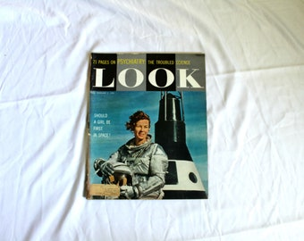 Vintage Look Magazine. February 2, 1960 Rare Vintage Feminist. Should Girls Be in Space Look Magazine. 1960s Look Magazine. Space Program