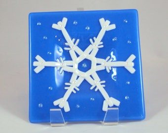 Fused Glass Snowflake Dish