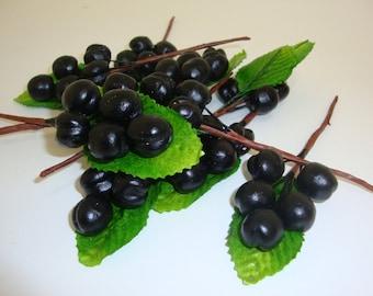Artificial Fruit. Lifelike Black Plum Sprigs Fruit Kitchen Realistic Food Fake Display Home Decor. Bag of 12 Pieces.