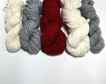 Red and Grey Yarn Pack, Neutral Yarn Pack,  Weavers yarn pack, Knitters Yarn Pack
