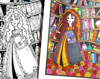 Magical Library Adult Coloring Page Printable
