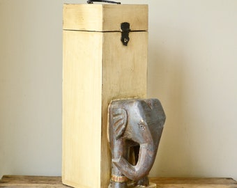 Large Hand Carved Elephant Cream Wine Storage Box
