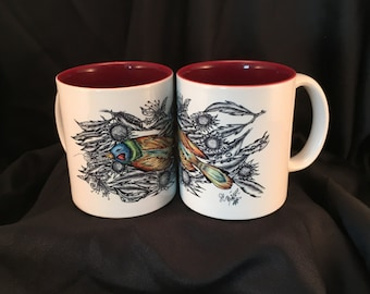 Art Drawing On Ceramic Coffee Mug Bird With Sunflower White/Maroon 2-Tone Cup Rhino Coated Mug Item #471508316
