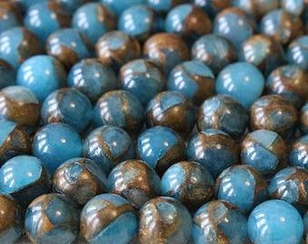 Pearl quartz, blue and Brown mosaic, 10 mm, set of 10 Pcs