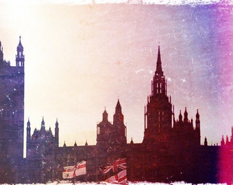 "Dreamy European Photo ""Westminster Sunset"" Fine Art Silhouette Photograph Print - London Photo - Film Photography"