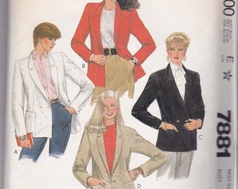 Vintage McCalls NEW AND UNCUT Pattern # 7881 for Single or Double-Breasted Jacket
