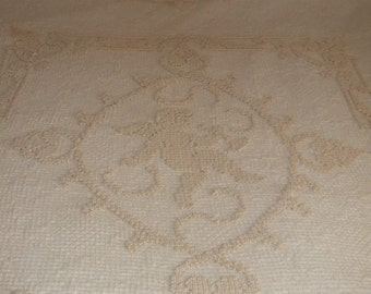 Vintage, French,Hand made, Filet Lace. Cotton,Bed Cover. Cherubs,Bows, Flowers.Tassels.