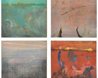 Set of Four Original Paintings by California Artist Gilbert Johnquest, 1997